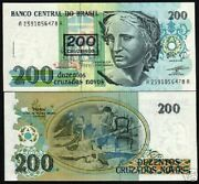 Brazil 200 On 200 Cruzeiros P225 1990 Oil Painting Liberty Unc Over Print Note