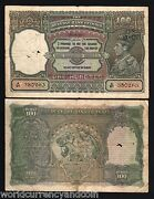 India 100 Rupees P-20 1943 King George Vi Bombay Tiger Indian Currency Bill Note