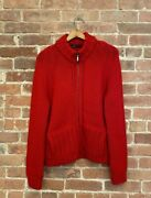 Manrico Men's Zip Cardigan Sweater, 100 Cashmere, Size 44, Red Italy