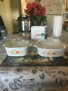 Set Of 2 Vintage Corning Ware Wildflower Pattern.1and1/2 Qt And 2 Qt. With Lids