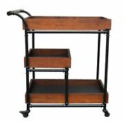 3 Tier Iron And Wood Farmhouse Bar Home Kitchen Service Cart On Wheels