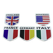 Britain/italy/france/germany Flag Logo Metal Car Sticker Tail Emblem Accessories