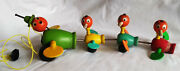 Vintage Fisher Price Duck Family Gabby Goofies Wooden Pull Toy 1956