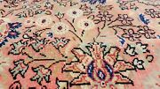 Exquisite Antique 1930-1940and039s Wool Pile Rose Dye Oushak Area Rug 8x11ft