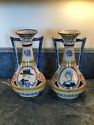 Antique Faience French Henriot Corbeille Quimper 1930 - Pair Of Tall Vases Rare