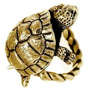 42mm Turtle Rope Ring With Black In 14k Yellow Gold