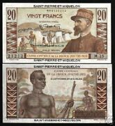 St.pierre And Miquelon 20 Francs P-24 1950 Hut Unc Rare French Currency Money Note
