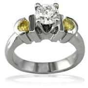 Complete Round Diamond And Yellow Sapphire Engagement Ring In 14k White Gold 0.