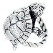 42mm Turtle Rope Ring With Black In 14k White Gold