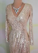 Champagne Sequin Evening Formal Prom Long Pageant Wedding Ball Gown Dress S 4/6