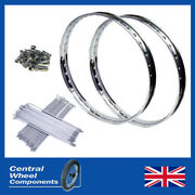 19 Wm1 Bsa Bantam D1 And D3 Stainless Wheel Rim And Spokes Set Front And Rear Included