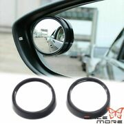 Pair Black Round Convex Stick On Rearview Blind Spot Mirrors For Car Truck Suv