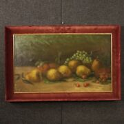 Still Life Framework Painting Signed Antique Style Oil On Canvas Frame 900