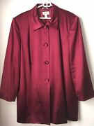 Talbots Plus 22wp Plum Red 100 Silk Buttoned Long Jacket Fully Lined W Vent
