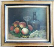 M.thiery Still Life With Bottle Glass Peaches And Grape Oil On Canvas