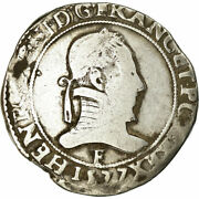 [860778] Coin France Franc Au Col Plat 1577 Angers Vf Silver