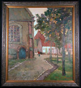Village In The Brebant Original Impressionist Oil Painting By Maurice De Meyer