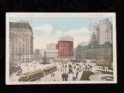 1915 Postcard Cadillac Square Detroit, Mi Hammond And Ford Buildings City Hall