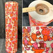 """Vtg 1970s Clowns Birthday Orange Pink Wrapping Paper Department Roll 24"""" Wide"""
