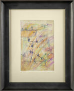 Purvis Young Original Signed Crayon And Ink Airplane Drawing Contemporary Art
