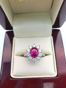 18k White Gold Natural African Ruby And Diamond Cluster Ring 1.0 Carats