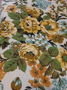 Vintage Barkcloth Curtain Drape Fabric Cottage Floral Chic 24 Yards One Piece