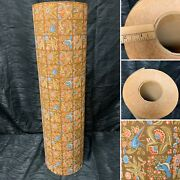 """Vtg Nos 70s Bird Floral Print Wrapping Paper Department Store Roll 22"""" Wide Rare"""