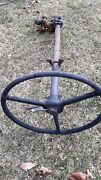 Pre War Steering Wheel With Shaft Horn Throttle And Gear Box