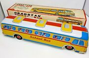 Vintage 1960and039s - Cragstan - Giant School Bus - Battery Op - Working With Box