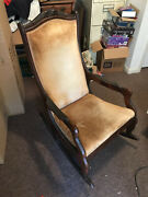 Antique Upholstered Rocking Chair Old Vintage Very Good Cond.- Local Pickup Only