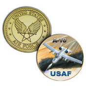 U.s. United States Air Force Usaf | A-10 | Gold Plated Challenge Coin