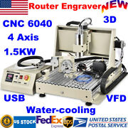 Usb 4 Axis Cnc Router 6040 Engraver Pcb Wood Milling Drilling Machine 1.5kw Vfd