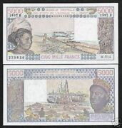 West African States Benin 5000 Francs P208 B 1992 Boat Unc Money Bill Bank Note