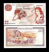 Isle Of Man 20 Pounds P-43 1983 Queen Map Rare Unc Currency Money Bill Bank Note