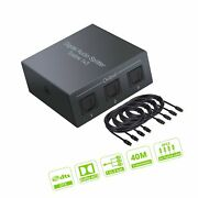 Linkfor 3 Port Toslink Splitter With 4pcs 6ft Optical Cable Digital Optical A...