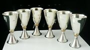 6 Quality Sterling Silver Toasting Goblets, London 1975, Mappin And Webb