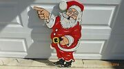Vintage Christmas Yard Art Decorations Hand Made Wooden Hand Painted Santa Claus