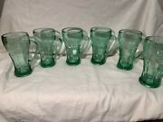 Vintage Set Of 6 Libby Green Glass Coca Cola Mugs 1970's Guc  613+grams Each