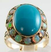 Huge 9ct Gold Vintage Ins Turquoise And Opal Poison Locket Ring