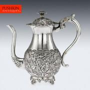 Antique 19thc Chinese Export Solid Silver Coffee Pot, Khe Cheong C.1860