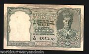 India 5 Rupees P-23 A 1943 British King George Deer Tiger Aunc Rare Indian Note