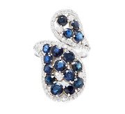 5.50ct Natural Blue Sapphire And Diamond 14k White Solid Gold Ring
