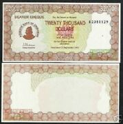 Zimbabwe 20000 20000 Dollars P-23 2003 Acting Governor Unc Check Currency Note