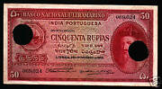 Portuguese India 50 Rupees P39 1945 Indian Ship Rare Sign Bank Note Portugal