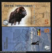 Arctic Territories 5 Dollars 2012 Polymer Unc Wild Musk Ox North Pole Expedition