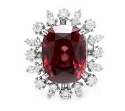 13.90 Carats Natural Red Zircon And Diamond 14k Solid White Gold Ring