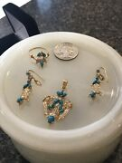 21k Yellow Solid Goldturquoise Stone 4 Pc Pendant Earring Ring Set