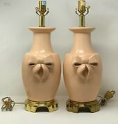 Vintage Ethan Allen Pink Ish Brass Crackle Ribbon Bow Table Lamps