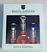 1995 Royal Limited Crystal Bottles Stoppers Blue, Green, Clear New Old Stock