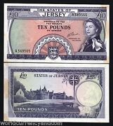 Jersey 10 Pounds P-10 1972 Queen Rare Unc Light Tone Great Britain Uk Bank Note
